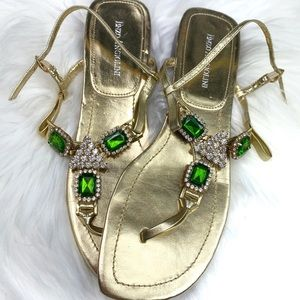 Enzo Angiolini gold and green rhinestone sandals